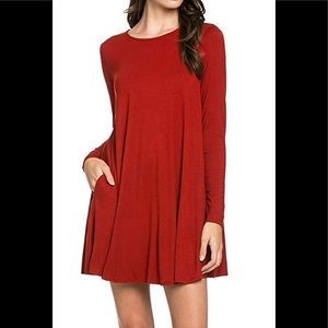 mts Long sleeve red dress with pockets